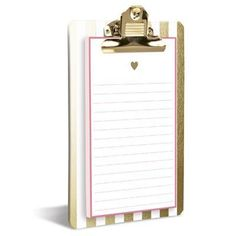 Graphique Gold Heart Clipboard Pad with Heart of Gold Pen School Locker Decorations, Back To School Stationery, Stationary Shop, Cool Office Supplies, Magnetic Notepads, Gold Pen, Metallic Gold, Great Teacher Gifts, Back To School Gifts