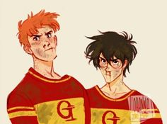 movie ilustration Harry Potter and George Weasley in OOTP after fighting Malfoy for insulting their mothers. Art Harry Potter, Fans D'harry Potter, Harry Potter Drawings, James Potter, Harry Potter Universal, Weasley Twins, Ron Weasley, Albus Dumbledore, Fanart