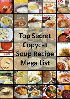 Top Secret Copycat Soup Recipe Mega List: a huge list of restaurant-inspired soups that can be made at home! Featuring my favorite Panera-Copycat Broccoli and Cheddar Soup Campbell's Tomato Soup Recipes, Copycat Soup Recipe, Pianono Recipe, Chilis Copycat Recipes, Copykat Recipes, Yummy Recipes, Top Secret Recipes, Smoothies, Soup And Salad