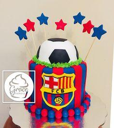 Birthday Cake For Boyfriend, Birthday Ideas For Her, Birthday Cakes For Women, Barcelona Soccer Party, Barcelona Cake, Bolo Real Madrid, Pastel Del Barcelona, Football Birthday Cake, Cake Decorating Icing