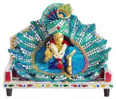 Bal Gopal Sitting on Throne in Blue Dress (Brass))