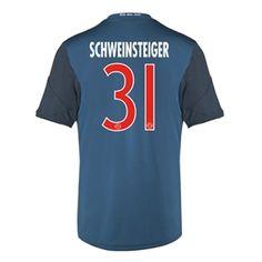 f84ab3354 Adidas Bayern Munich  SCHWEINSTEIGER 31  Third  13- 14 Replica Soccer Jersey  (Satellite Blue Poppy Red)