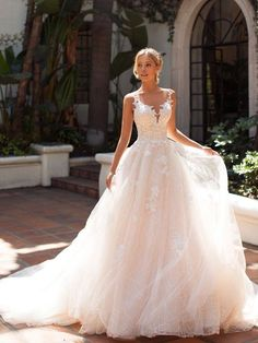Illusion Bateau Bridal Gown Moonlight - Moonlight Collection is a full ball gown wedding dress with an illusion bateau neckline. This wedding gown also features unique sparkle lace details that will have you looking flawless. Source by moonlightbridal - African Wedding Dress, Wedding Dress Trends, Dream Wedding Dresses, Bridal Dresses, Bridesmaid Dresses, Wedding Ideas, Wedding Dress Sparkle, Evening Dresses For Weddings, Wedding Night