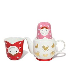Tea for two is easy and adorable with this colorful matryoshka-themed tea set. Complete with two charming cups nested one inside the other, it's a compact and cute way to enjoy a fresh cup of tea with a friend.