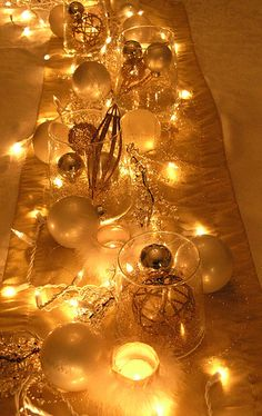 Christmas lights in centerpieces