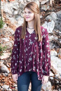 An Evening Floral Shirt, Burgundy