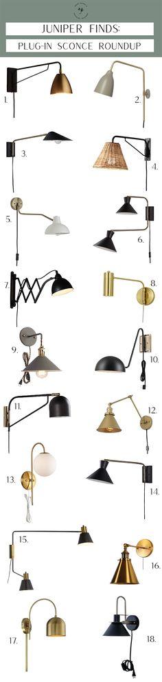 Plug-In Sconce Roundup – Juniper Home – Lighting Wall Fixtures, Wall Sconces, Light Fixtures, Cool Lighting, Modern Lighting, Lighting Ideas, Track Lighting, Beautiful Home Designs, Beautiful Homes