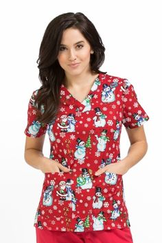 "Med Couture Peaches Anna Print Top in ""Chilled Friends"" from Med Couture Scrubs"