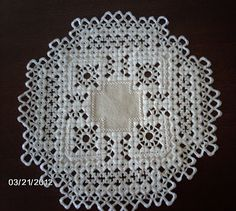 Hardanger doily - must learn to make these stitches!