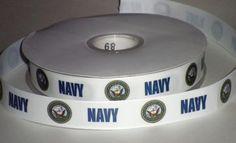 7/8 inch Custom US Navy Satin or Grosgrain Ribbon | jlribbongear - Handmade Supplies on ArtFire