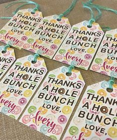 Items similar to Donut Tag - Birthday Favor Tags - Donut Party - Doughnut Favor Tag - Thank You Doughnut Label Tag - Non Personalized -Assembled 1 set of 10 on Etsy Candy Birthday Cards, Birthday Favors, Birthday Party Themes, Party Favors, Birthday Ideas, Pink Birthday, 4th Birthday, Favor Tags, Gift Tags