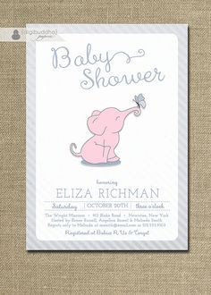 Elephant baby shower invitations cute and retro by thepapermango pink elephant baby shower invitation butterfly girl boy pink blue gray striped modern animal free priority shipping or diy printable eliza filmwisefo Gallery