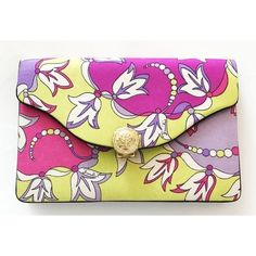 Pre-Owned Vintage Emilio Pucci Pink & Green Silk Clutch (€280) ❤ liked on Polyvore featuring bags, handbags, clutches, pink, vintage purses, preowned handbags, pink envelope clutch, flap handbags and vintage handbags