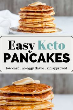 Easy Keto Pancake Recipe – Your low carb breakfast just got easier with these keto coconut flour pancakes that can be made in the blender. Keto Pancakes Coconut Flour, Keto Cream Cheese Pancakes, Best Keto Pancakes, Low Carb Pancakes, Tasty Pancakes, Pumpkin Pancakes, Breakfast Low Carb, Breakfast Recipes, Pancake Recipes