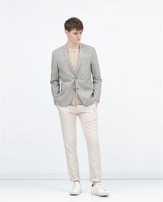 Image 1 of Striped cotton blazer from Zara