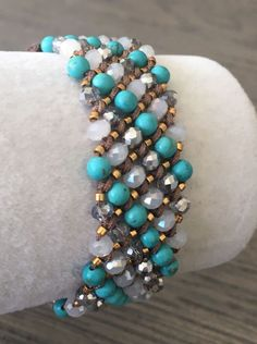 New Auth Chan Luu Turquoise Mix Bracelet on Brown Leather    eBay
