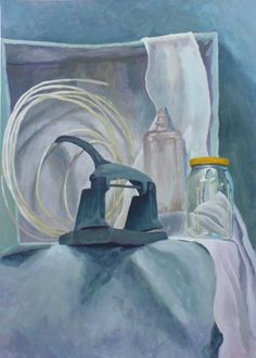 Blue paper punch #blue #bottle #jar #paperpunch #academic #art #painting