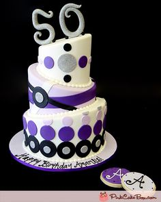 50th Happy Birthday Cake changed to 80th (& no purple) would be really cute!