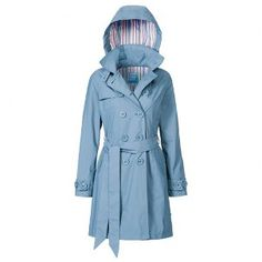 lovely blue trenchcoat designed for cycling
