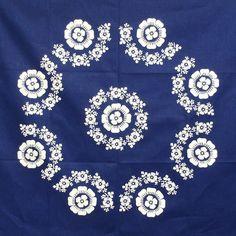VINTAGE Czech blueprint fabric floral pattern Roznov indigo blue print folk kroj