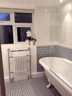 Stunning 40 Fabulous Grey And Blue Bathroom Design Ideas. Blue Bathrooms Designs, Bathroom Tile Designs, Bathroom Design Small, Grey Bathrooms, White Bathroom, Beautiful Bathrooms, Bathroom Interior Design, Bathroom Ideas, Bathroom Suites Uk