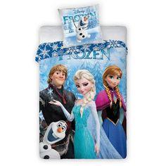 Retrouvez Anna, Elsa, Sven et Olaf sur cette chouette housse de couette Reine des Neiges ! #parurefrozen #couette frozen