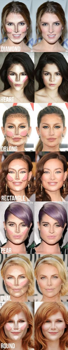 Genial Resumen para contornear nuestros rasgos, según la forma de nuestro rostro :)! Se consiguen cosas increíbles! Reserva tu cita para tu taller de automaquillaje :)  Highlighting and contouring guide for your face shape! It really makes a difference! #contornear #maquillaje
