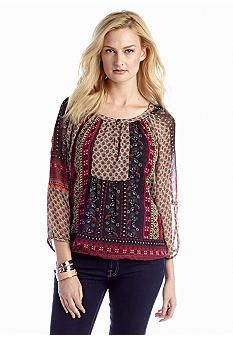 New Directions® Patchwork Print Blouse