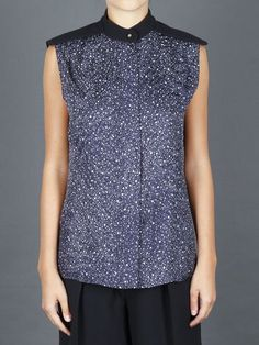 CHLOE' SLEEVELESS SHIRT WITH GALAXY PRINT ON SILK JACQUARD AND CONCEALED FRONT BUTTON CLOSURE