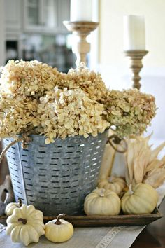 Dried Hydrangeas in an Olive basket.