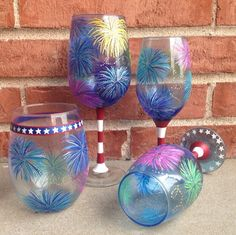 For the 4th of July or any American occasion, each of these wine glasses is a unique way to celebrate in style.  - Hand painted in a variety