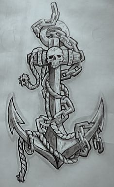 JG's Anchor Skull Tattoo opt1 by TheMacRat tatto flash art ~A.R.
