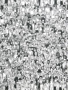 Geoff McFetridge; 'All of Us Together' Wallpaper for Pottok Prints.