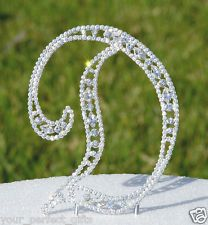 Large Crystal Rhinestone Monogram Wedding Cake Topper Top Letter Initial Number
