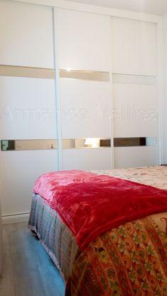 Armario empotrado en dormitorio principal. Espacio: Pared a pared.   Medidas exteriores: 295 X 258 X 67 Puertas: 3 Correderas.  Modelo: 2 Franjas de espejo de 13 cm. altura con dos junquillos horizontales de aluminio brillo, separando entre franjas 1/3 partes, resto, tablero DM blanco lacado.  Color base: Blanco, lacado. Decor, Furniture, Comforters, Home Decor, Bed