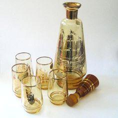 Bohemian decanter | Nautical tippling. 1950s Bohemian Crystal decanter and glass set, tall ...