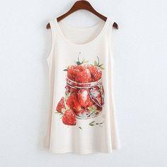 Stella Sleeveless Strawberry In A Jar Printed Top