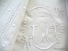 Monogram embroidery letters...gorgeous