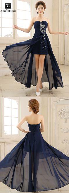 In stock elegant chiffon sweetheart neckline a-line evening dress. The hi-lo design make the dress unique. (SOD42702) - Adasbridal.com