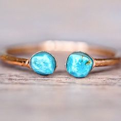 Rose Gold Little Turquoise Ring    Part of our 'Mermaid' Collection    www.indieandharper.com