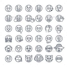 Outline emoji emoticons. Smiley face flat thin line vector icons set. Different facial emotions and expression symbols. Cute linear illustration of mood and reactions of ball character for text chat and web messenger.   Basic positive and negative facial expressions: cheerful, winking, kissing, sticking out a tongue, shy, listening to music, sick, angry, crying, shocked, in love, gestures and characters, such as a girl, a cat, a ninja etc.