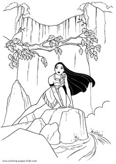 Pocahontas color page, disney coloring pages, color plate, coloring sheet,printable coloring picture