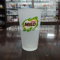 LYJ157 best selling products nestle milo wholesale frosted glass cup 475ml drinking glass with round bottom #Milos, #Bars