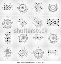 Bauhaus retro wallpapers, set of art vector backgrounds made using lines grid and circles. Geometric graphic 1960s illustration can be used as booklets cover design. Technological patterns.