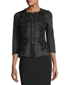 Embroidered Jacquard Zip-Front Jacket