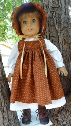 """18"""" Doll Clothes Prairie Style Outfit With Pinafore and Bonnet Fits American Girl Kirsten, Samantha"""