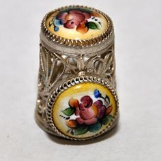 souvenir thimble, Russia, Rostov enamel, enamel, silver-plated copper, plant, and the tip of the side medallions - flowers