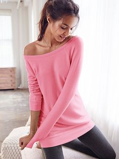Oversized Tunic - Fleece - Victoria's Secret- Color Pink Cocktail Size: Small