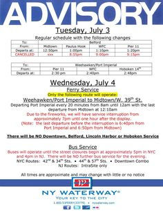 July 3rd and July 4th Advisory for NY Waterway Ferries