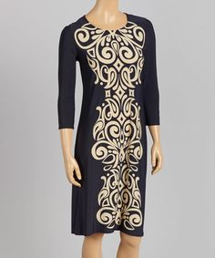 Take a look at this Navy & Beige Swirl Shift Dress - Women & Plus on zulily today!